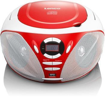 Lenco SCD-39 USB Červený - přenosné rádio s CD a USB; lscd39usbr