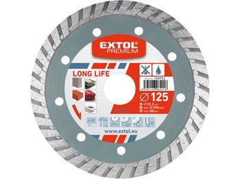 kotouč diamantový řezný turbo Long Life, 150x22,2mm, suché i mokré řezání, EXTOL PREMIUM