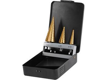 vrtáky stupňovité, sada 3ks, Ř4-12/1mm, Ř4-20/2mm, Ř4-32/2mm, titanová povrchová úprava, TiN, EXTOL; 20090