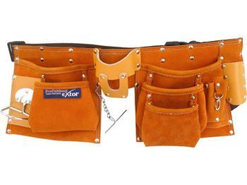 pás na nářadí kožený, 9 kapes (2 velké, 3 střední, 4 malé), držák na kladivo, poutko na klíče, kaps