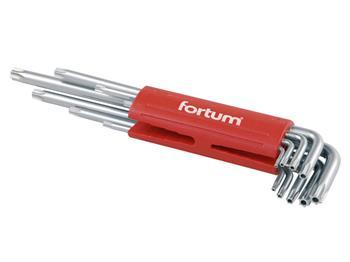 L-klíče TORX vrtané prodloužené, sada 9 ks, TTa 10-15-20-25-27-30-40-45-50, S2, FORTUM; 4710202