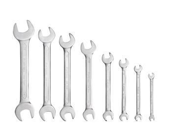klíče ploché, sada 8ks, 6x7, 8x9, 10x11, 12x13, 14x17, 16x18, 19x21, 22x24mm, 61CrV5, FORTUM; 4730102