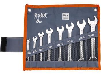 klíče ploché, sada 8ks, 6x7, 8x9, 10x11, 12x13, 14x15, 16x17, 18x19, 20x22mm, CrV, EXTOL PREMIUM