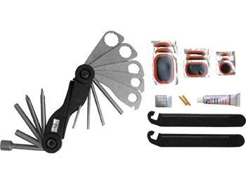 sada nářadí na kolo, plochý a křížový šroubovák, imbusové klíče 2-2,5-3-4-5-6mm, nástrčný klíč 8mm,
