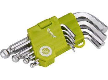 L-klíče imbus krátké, sada 9ks, 1,5-2-2,5-3-4-5-6-8-10mm, s kuličkou, EXTOL CRAFT; 66000