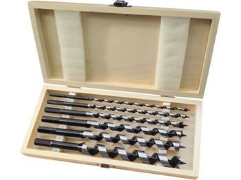vrtáky hadovité do dřeva, sada 6ks, Ř6-8-10-12-16-20x260mm, šestihranná stopka, v dřevěné kazetě, E