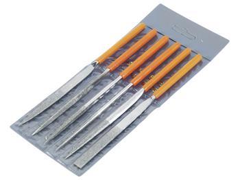 pilníky diamantové jehlové, sada 6ks, 160mm, pilník plochý, půlkulatý, tříhranný, kulatý, čtyřhrann