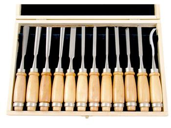 Extol dláta řezbářská, sada 12ks, délka 200mm, v dřevěné krabici, tvrzené na HRC 58-60, CrV, EXTOL PREMIU; 8812405