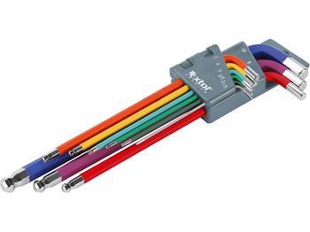 Extol L-klíče imbus prodloužené barevné, sada 9ks, 1,5-2-2,5-3-4-5-6-8-10mm, s kuličkou, barevné rozlišen; 8819315