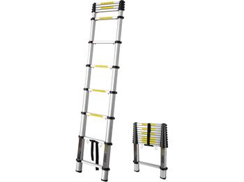 žebřík teleskopický, 2,6m, max. výška 2,6m, výška složeného žebříku 0,68m, nosnost 150kg, 9 příček