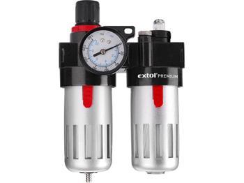 regulátor tlaku s filtrem a manometrem a přim. oleje, max. prac. tlak 8bar (0,8MPa), nádobka pro ko