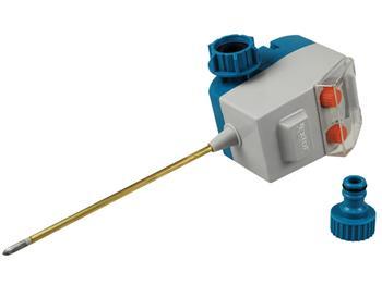 čidlo půdní vlhkosti, konektor na kohoutek s 3/4'' závitem, napájení: baterie 3 x 1,5V typ AA, EXTO