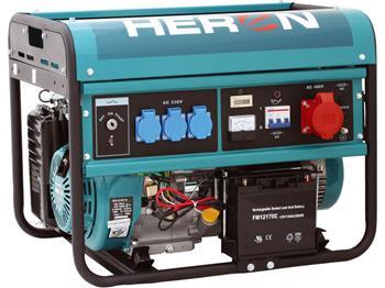 elektrocentrála benzínová 13HP, elektrický start, 6,0kW (400V)/2,2kW (230V), HERON, EGM 60 AVR-3E