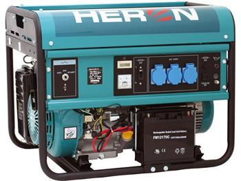 elektrocentrála benzínová 13HP, pro svařování, elektrický start, 5,5kW, HERON, EGM 55 AVR-1E