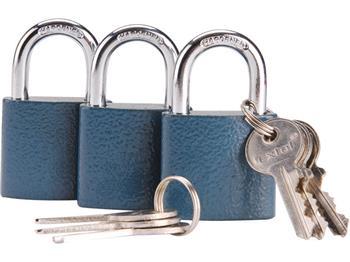 zámky visací 38mm sjednocené na jeden klíč, sada 3 kusů, 6 klíčů, EXTOL CRAFT