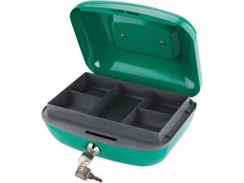 schránka na peníze přenosná s pořadačem, 210x165x100mm, 2 klíče, plastový pořadač na mince, EXTOL C; 99041