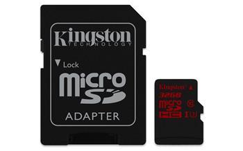 Kingston 32GB microSDHC U3 90R/80W class 10; SDCA3/32GB