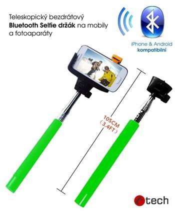 C-TECH Teleskopický selfie držák BT spoušť, zelená; MP107G