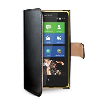Pouzdro typu kniha CELLY Wally pro Nokia Lumia 630/635, PU kůže, černé