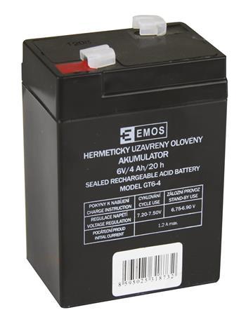 EMOS Bezúdržbový olověný akumulátor 6V 4Ah pro svítilny 3810 *B9641; 1201000100