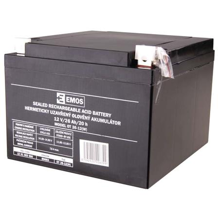 Baterie EMOS 12V/26AhBezúdržbový olověný akumulátor 12V 26Ah L2; 1201003600