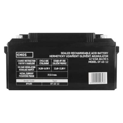 Baterie EMOS 12V/65AhBezúdržbový olověný akumulátor 12V 65Ah M8; 1201003800