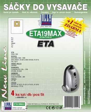 Filtr Jolly MAX ETA 19 (4ks) do vysav. Eta, Rowenta; JOLETA19MAX