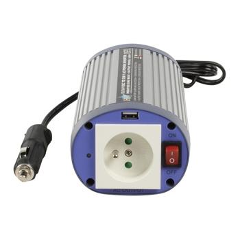 HQ INV150WU24F - Měnič napětí 24V / 230V, 150 W, USB, zásuvka CZ