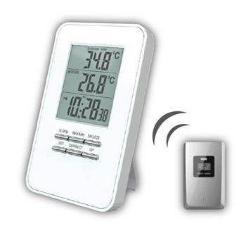 Solight bezdrátový teploměr, teplota, čas, budík, bílý; TE44