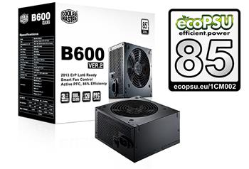 CoolerMaster B2 series 600W PFC v2.3, 12cm fan, eff. 85% - ErP 2013, black; RS600-ACABB1-EU