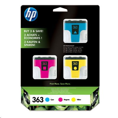 HP CB333EE - 3-pack inkoust yellow/cyan/magenta číslo 363 - po EXPIRACI (záruka 2 roky); CB333EE