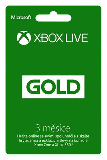 XBOX LIVE Gold Card - zlaté členství 3 měsíce; 52K-00263