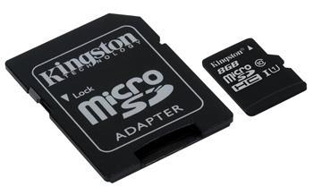 Kingston micro SDHC 8GB class 10Kingston micro 8GB Class 10 G2 SecureDigital HC (microSDHC); SDC10G2/8GB
