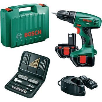 Aku vrtačka Bosch PSR 12, 2 aku + 51 ks set příslušenství; 3165140621038