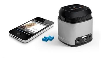 Přenosný Bluetooth a NFC reproduktor Makro Technaxx Mini MusicMan, baterie 600 mAh, stříbrný(NFC-X6)