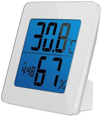 Solight teploměr, teplota, vlhkost, budík, LCD displej, bílý rámeček