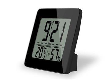 Solight TE12B teploměr, teplota, vlhkost, budík, LCD displej, černý rámeček; TE12B