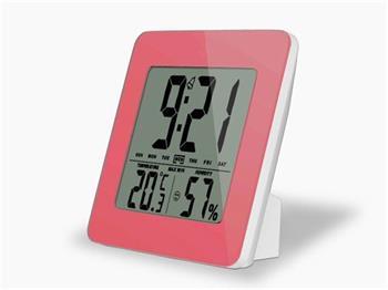 Solight TE12P teploměr, teplota, vlhkost, budík, LCD displej, růžový rámeček; TE12P