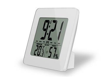 Solight TE12W teploměr, teplota, vlhkost, budík, LCD displej, bílý rámeček; TE12W