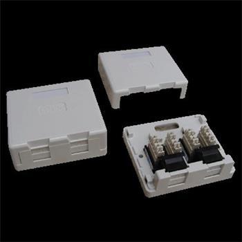 DATACOM Datová zásuvka UTP CAT6 2xRJ45 na omítku bílá; 2336