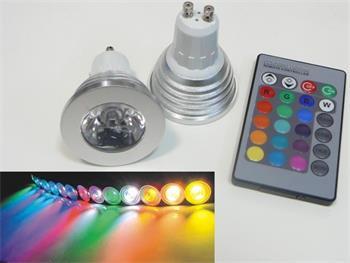RGB LED žárovka GU10 3W 240V + ovládač