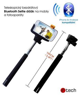 C-TECH Teleskopický selfie držák BT spoušť, černá; MP107B