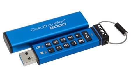 Kingston 32GB Keypad USB 3.0 DT2000, 256bit AES Hardware šifrování; DT2000/32GB