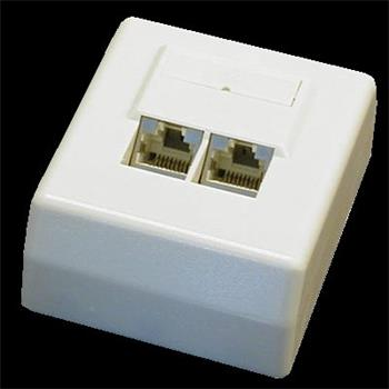 DATACOM Datová zásuvka STP CAT6 2xRJ45 na omítku 45st. bílá