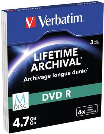 Verbatim DVD-R 4,7GB M-Disc 4x, slim box, 3ks/pack; 43826