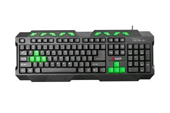 C-TECH GMK-102-G, USB, černo-zelená, multimediální, CZ/SK klávesnice