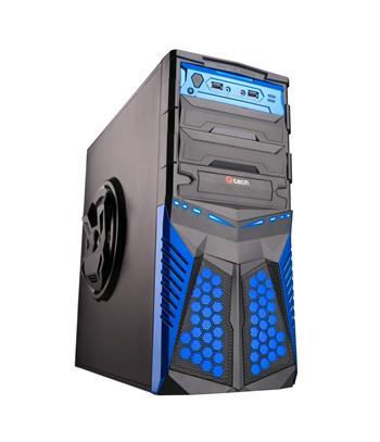C-TECH HADES (GC-01), černo-modrá, PC herní skříň, bez zdroje