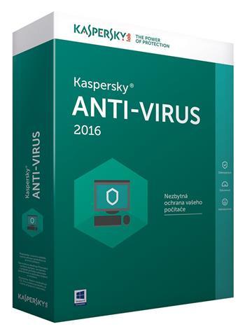 Kaspersky Anti-Virus 2016 1+1 PC / 1 rok CZ Prodloužení licence/ Krabice