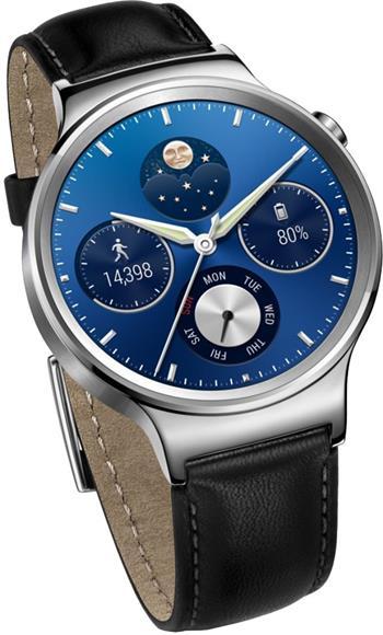 "Huawei Watch W1 - chytré hodinky, 1,4"" kulatý displej, 300mAh, bluetooth, android, černý kožený pásek; WA-WATCHW1SOM"