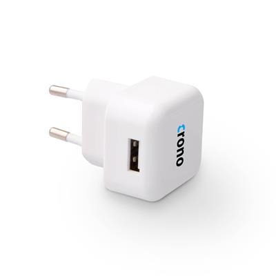 Crono univerzální USB nabíječka, 1x USB, 1000 mA, bílá; CB10062